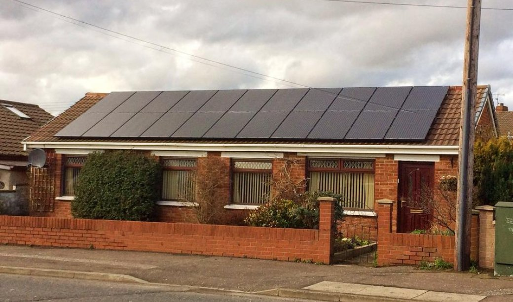 Image of A 5.5Kw PV Solar system installed on the Larne Road in Carrickfergus